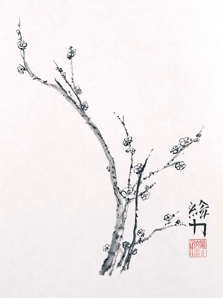 hombretheartist sumie plumblossom 4 forwebsite