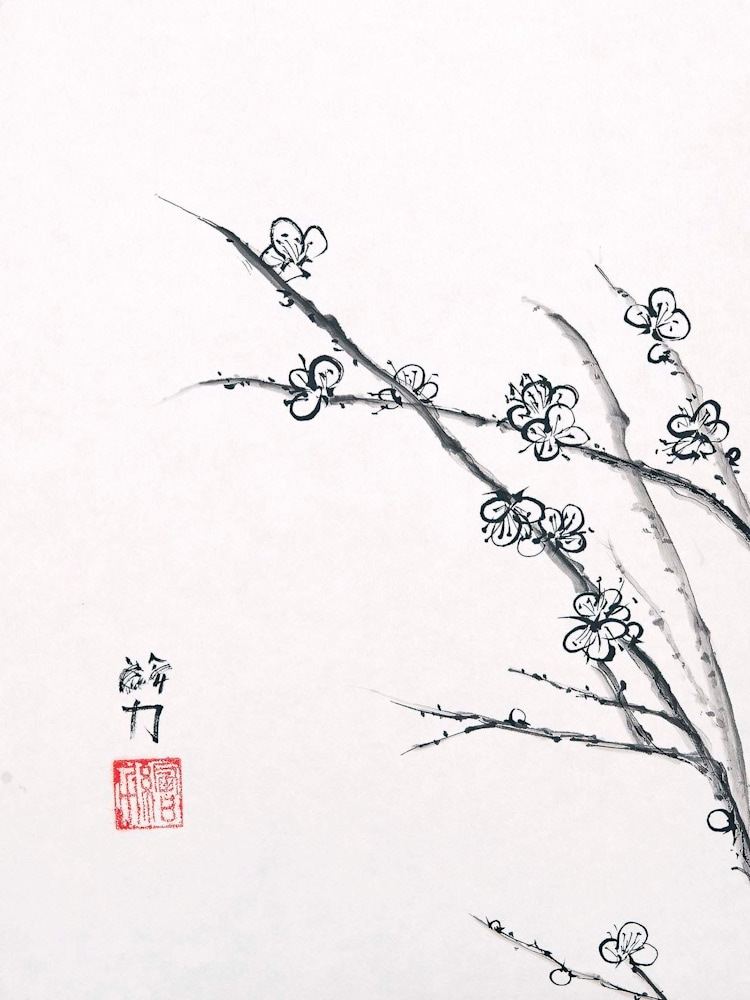 hombretheartist sumie plumblossom 3 forwebsite
