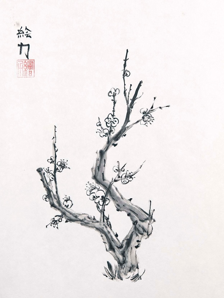hombretheartist sumie plumblossom 2 forwebsite
