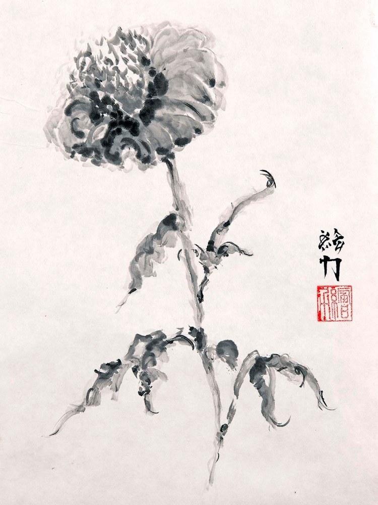 hombretheartist sumie flower 1 forwebsite