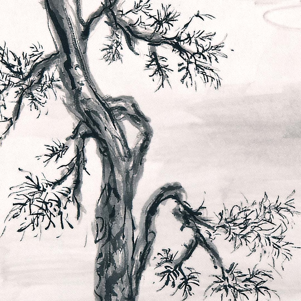 hombretheartist sumie pinetree 4 detail