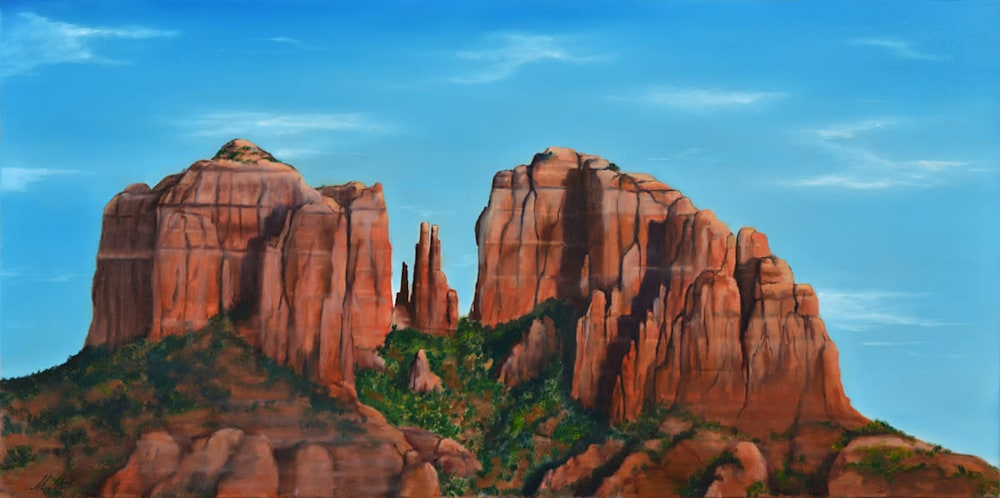 'Western Red Rock View' Oil on canvas by Monica Marquez Gatica MMG Art Studio