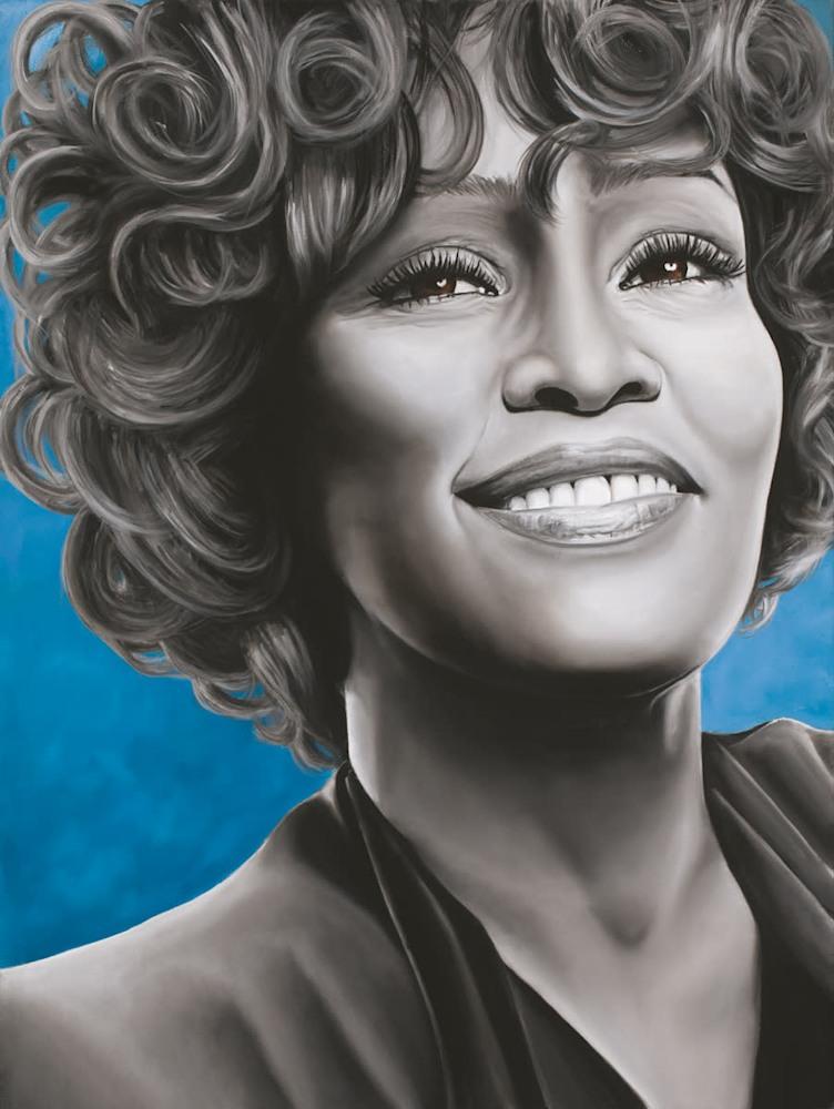 'Whitney Houston' Oil on canvas by Monica Marquez Gatica MMG Art Studio   Copy