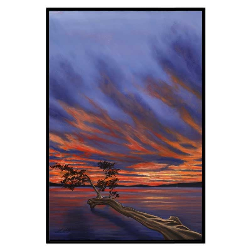 32x48 CGW black frame lake sunset