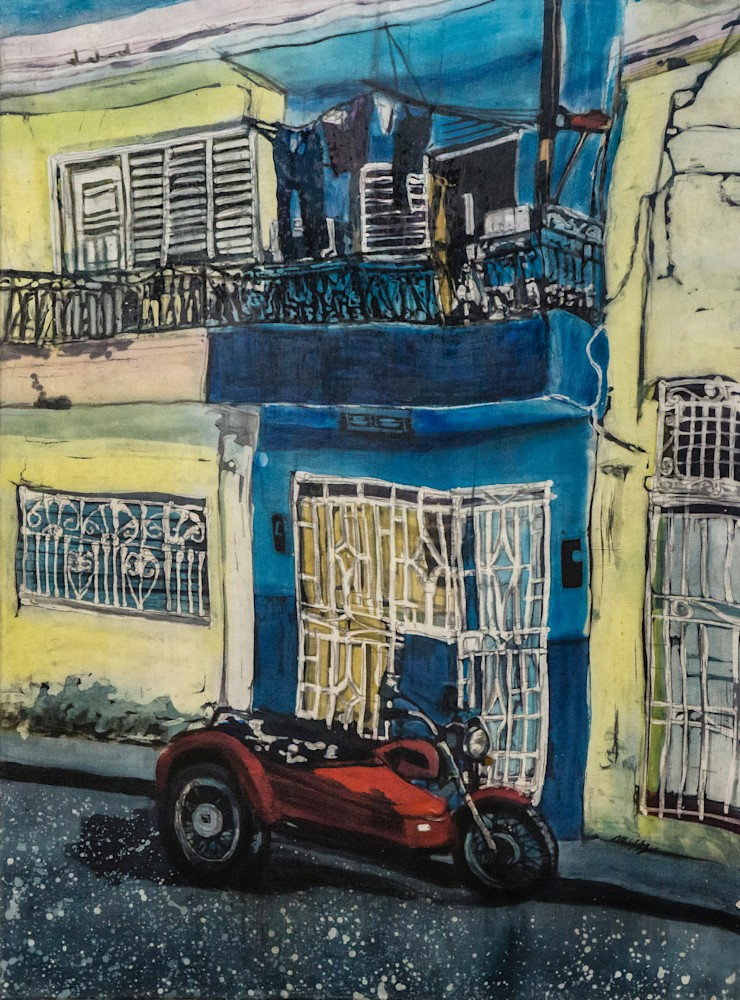 Muffy Clark Gill Wash Day! Sidecar rozome on silk 18x24 in (4 of 4)