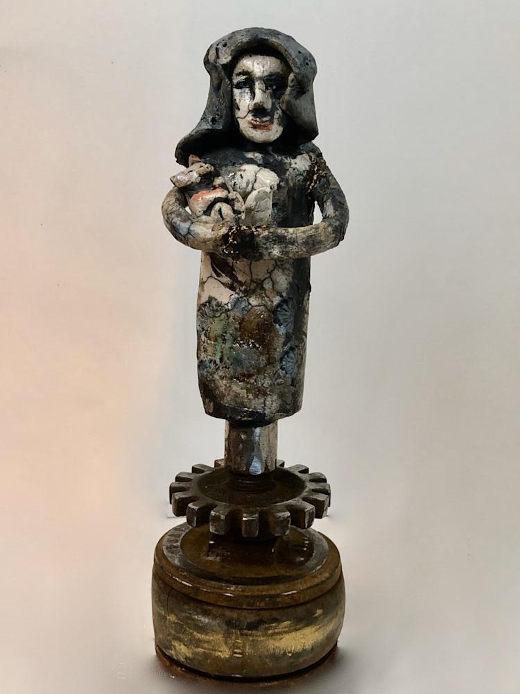 """Ceramics Fox Mother front, raku, 12""""x4"""""""