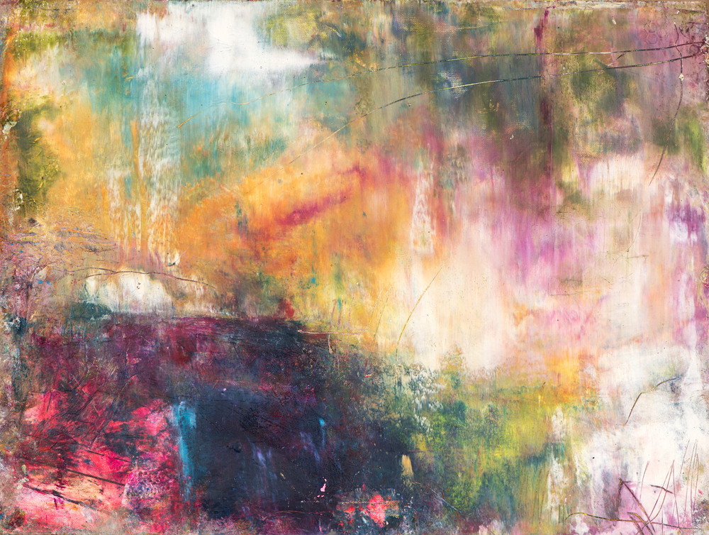 'Summer Rain' oil, cold wax, collage on Arches paper, floating frame, Eadaoin Glynn 2019 frame 50x61 HiRes