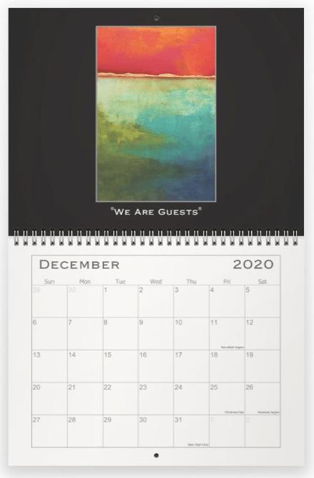 Heather Haymart Fine Art 2020 Abstract Calendar   December