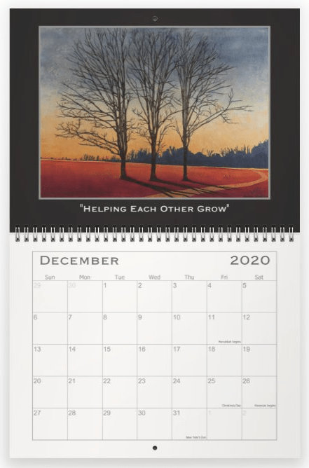 Heather Haymart Fine Art 2020 Trees Calendar   December