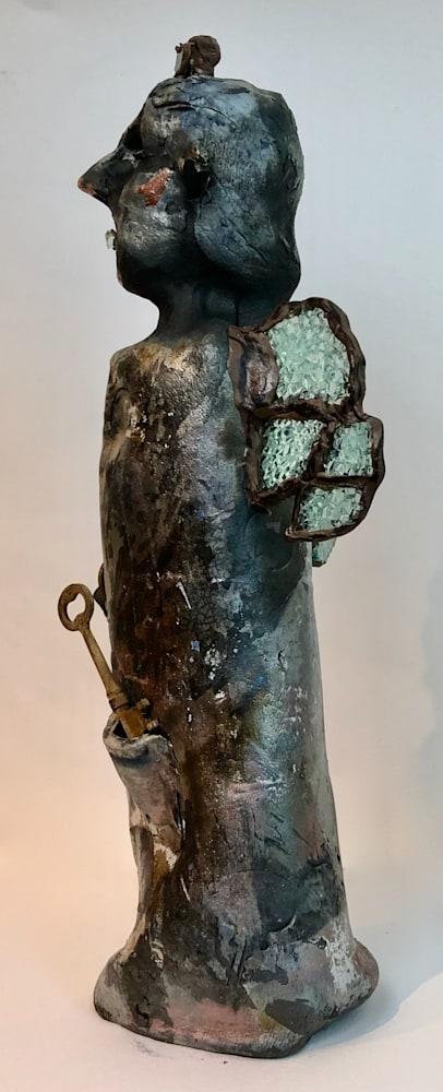 Ceramic Angel 2 side, raku clay and glass, 14x4