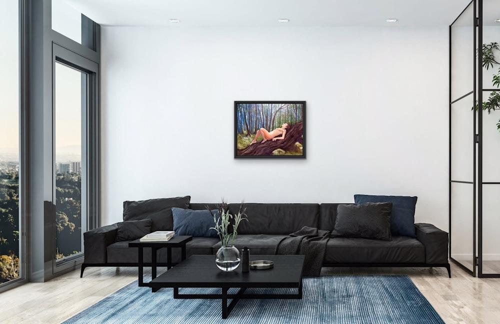 A Quiet Enclave Original Romantic Fine Art Figurative Oil Painting View 1