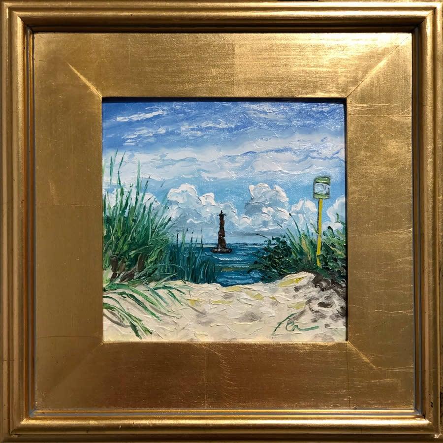 Morris Island Lighthouse with dunes, Folly Beach Art
