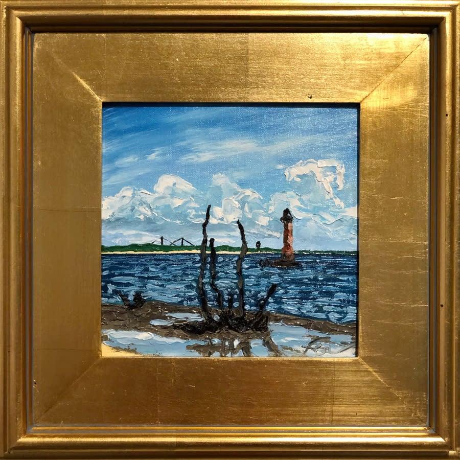 Morris Island Lighthouse at Low Tide in gold leaf frame
