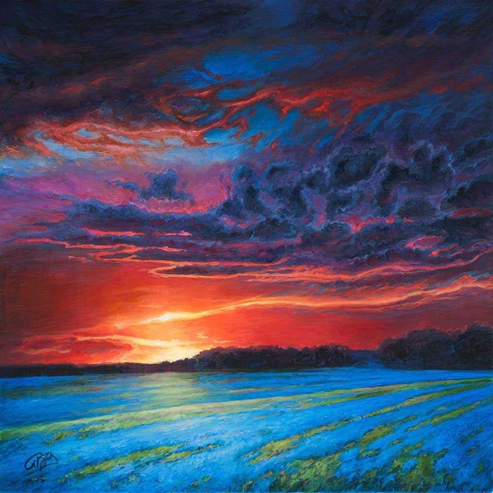Rebecca Zook Neon Nightfall 12x12 Acrylic on Panel Dallas Art Gallery Compr