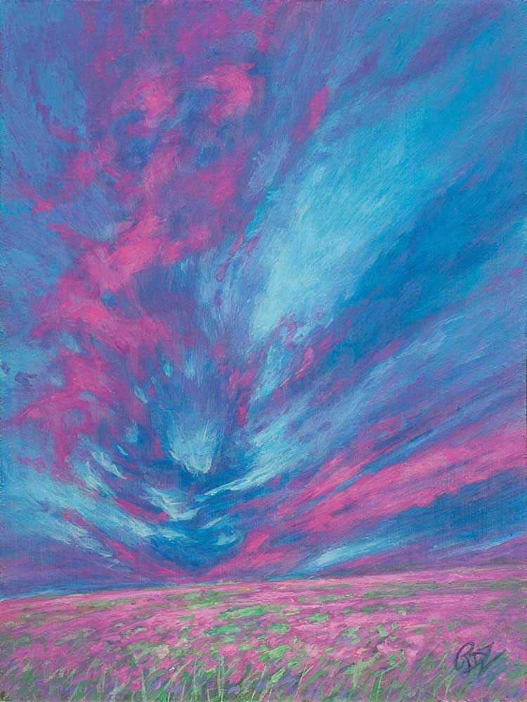 Rebecca Zook Strawberry Field 6x8 Acrylic on Panel Dallas Art Gallery Compr