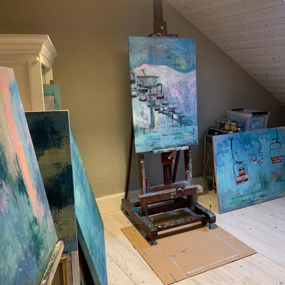 Ski Lift III in studio 60x91cm