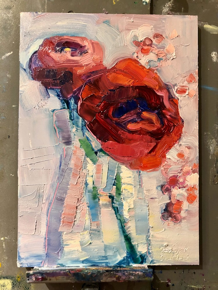 Togethwe Still Life With Red Rose Ranunculus and Pepperberries 1, Oil, 7x5