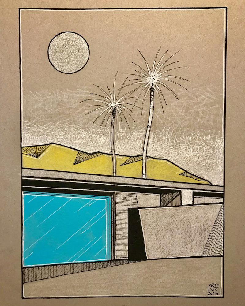 Arthur Pochon   Palm Springs (Drawing)