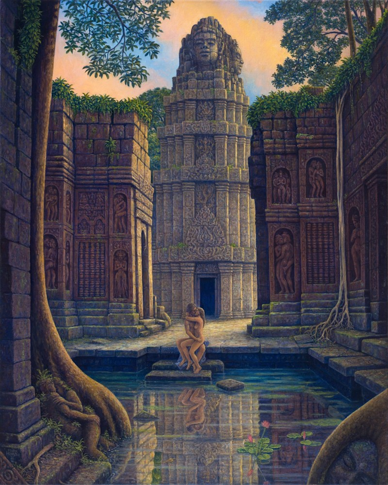 On Temple Steps giclee