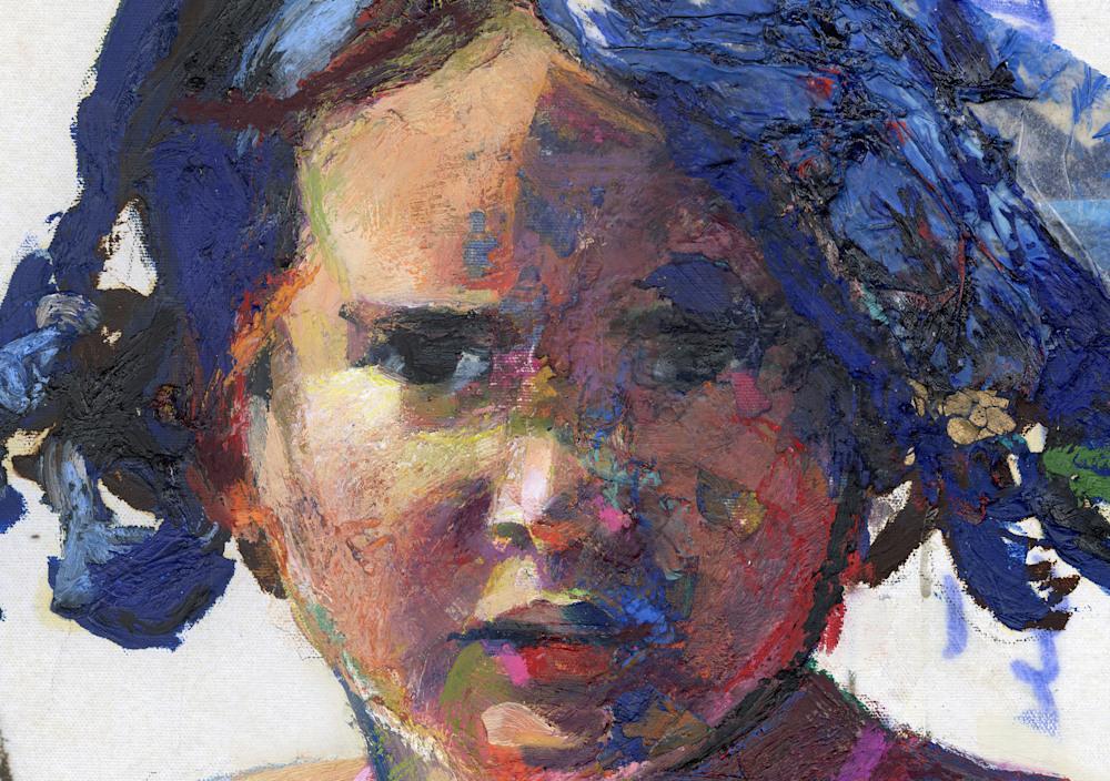 Pensive Beach Girl detail hoofd