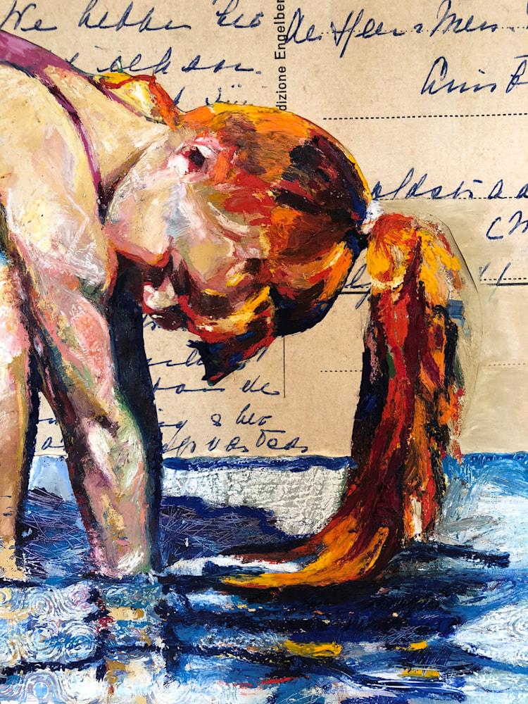 Pink in Blue Water Postcard Girl detail 3
