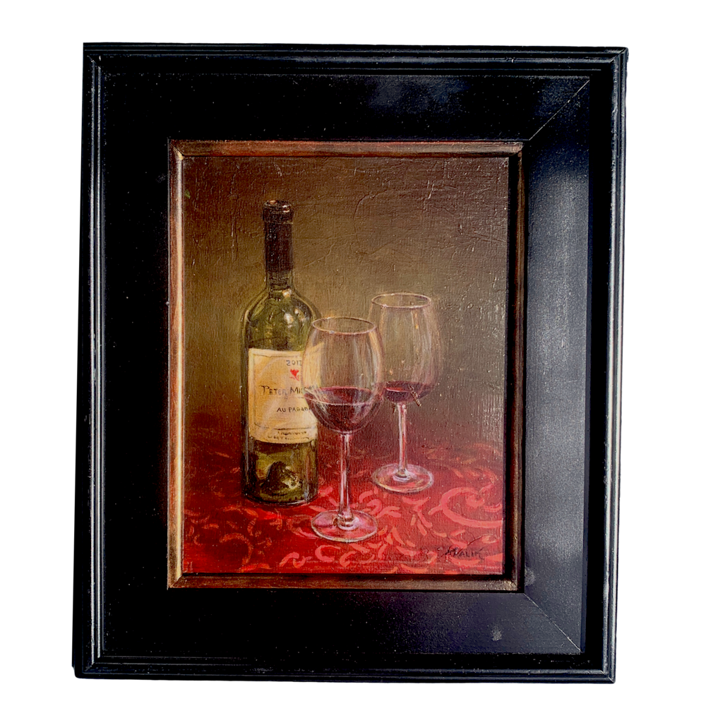 Brandon Kralik   Peter Michael Still Life   Original Oil Painting Wine Bottle Red Glasses Evo Art Maui Front Street Lahaina Galleries