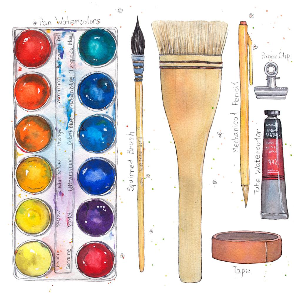 class, watercolor materials