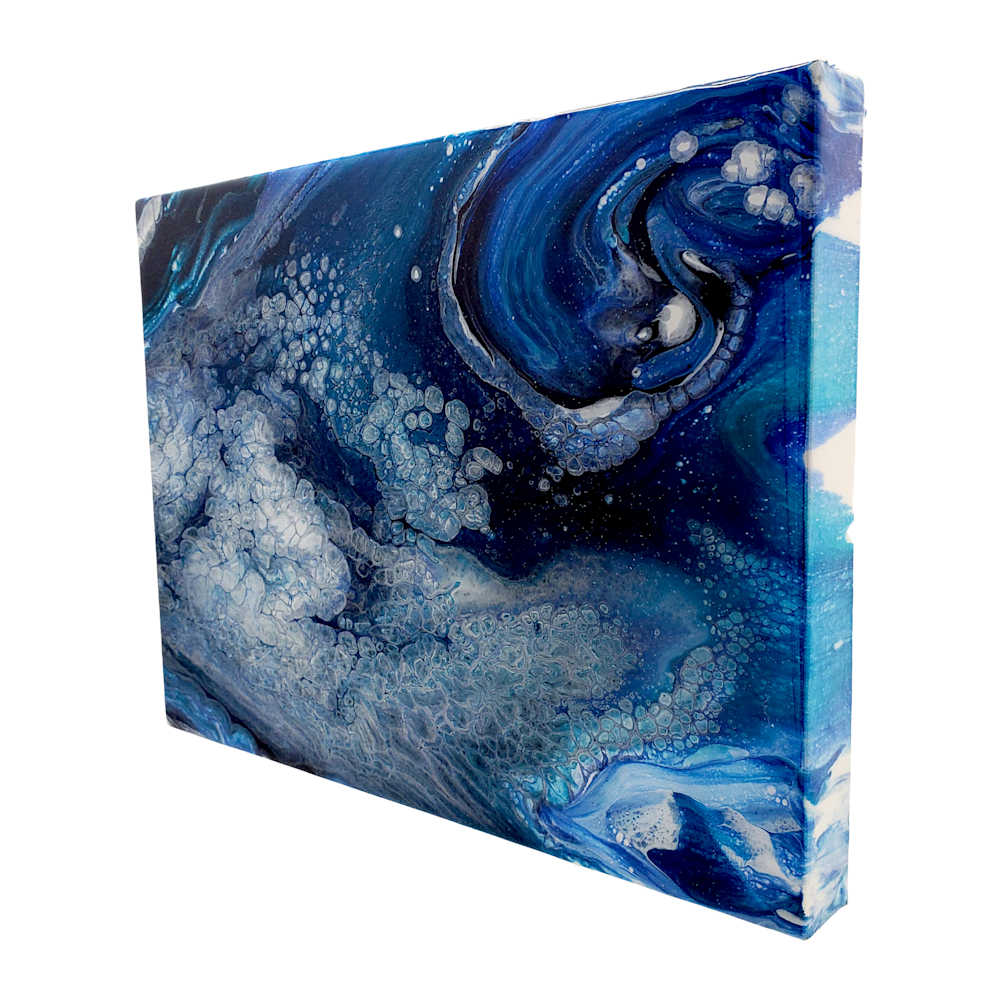 Melanie Burns   Dance of the Seafoam 5 Side View   Evo Art Maui Lahaina Gallery Blue Abstract Art