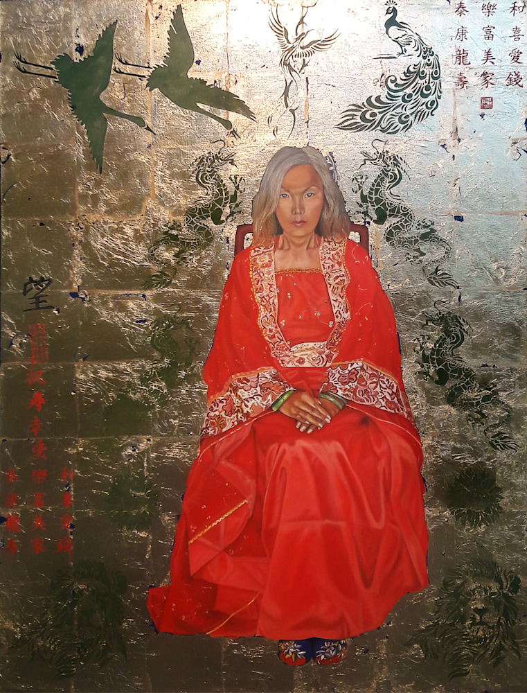 Thu Nguyen   The Chinese Empress   Oil with Gold Leaf