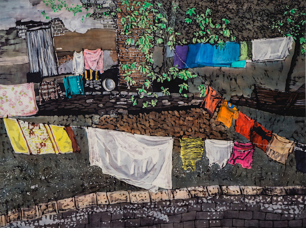 Muffy Clark Gill Wash Day! Cuban Courtyards rozome on silk 30 x 40 in
