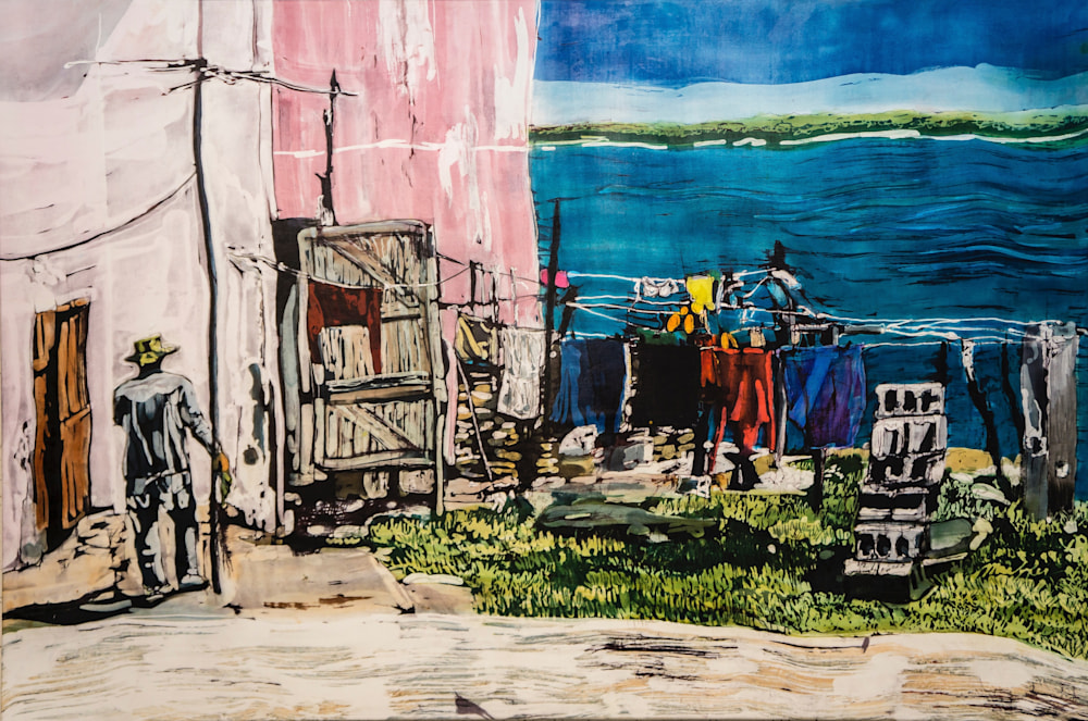 MCG 166 Muffy Clark Gill Wash Day! Gibara Bay  rozome on silk 24 x 36 in