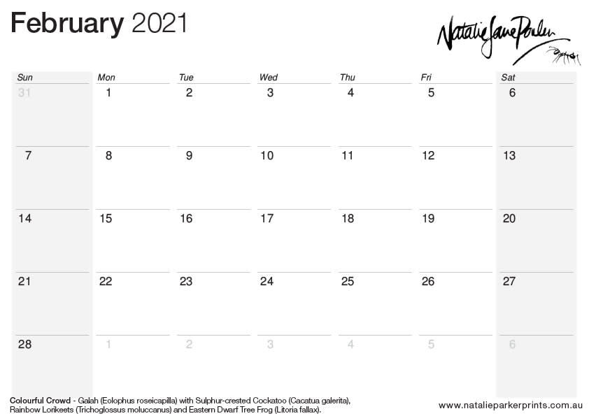 NJP 2021 Calendar A4 Feb cal