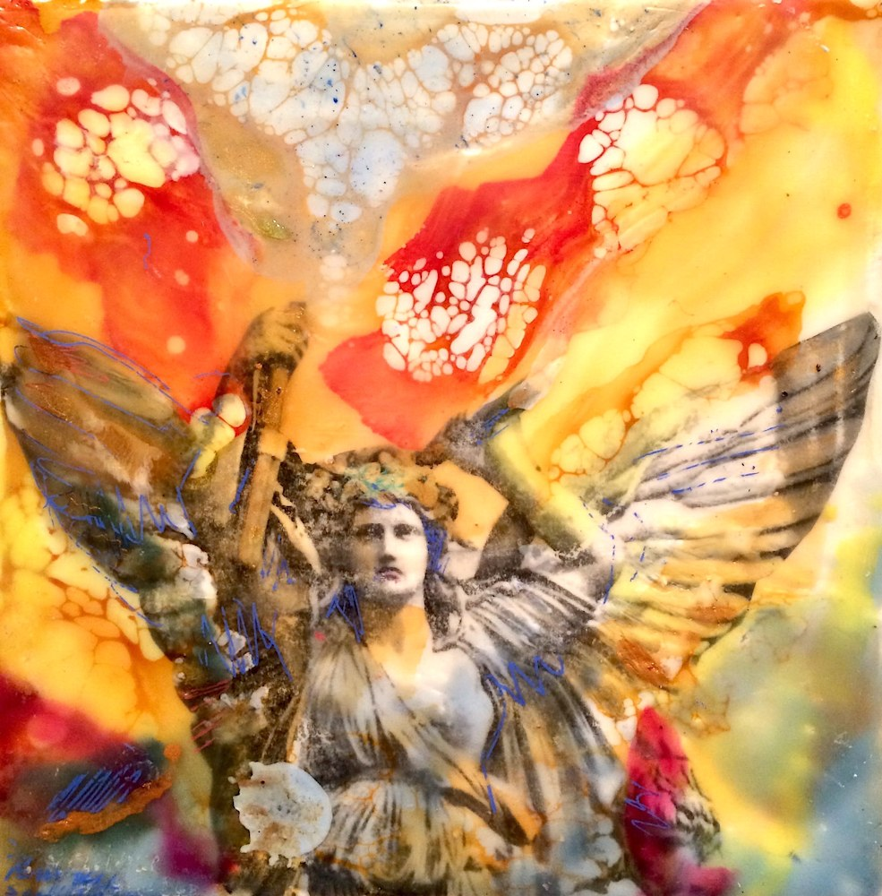 Love Conquers 1, encaustic wax and mixed media on wood, 6