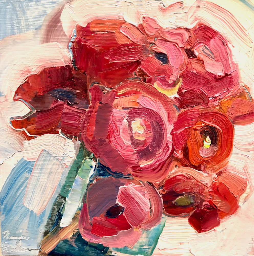 """""""Together Still Life With Pink and Red Ranunculus, Oil, 6x6 (2)"""