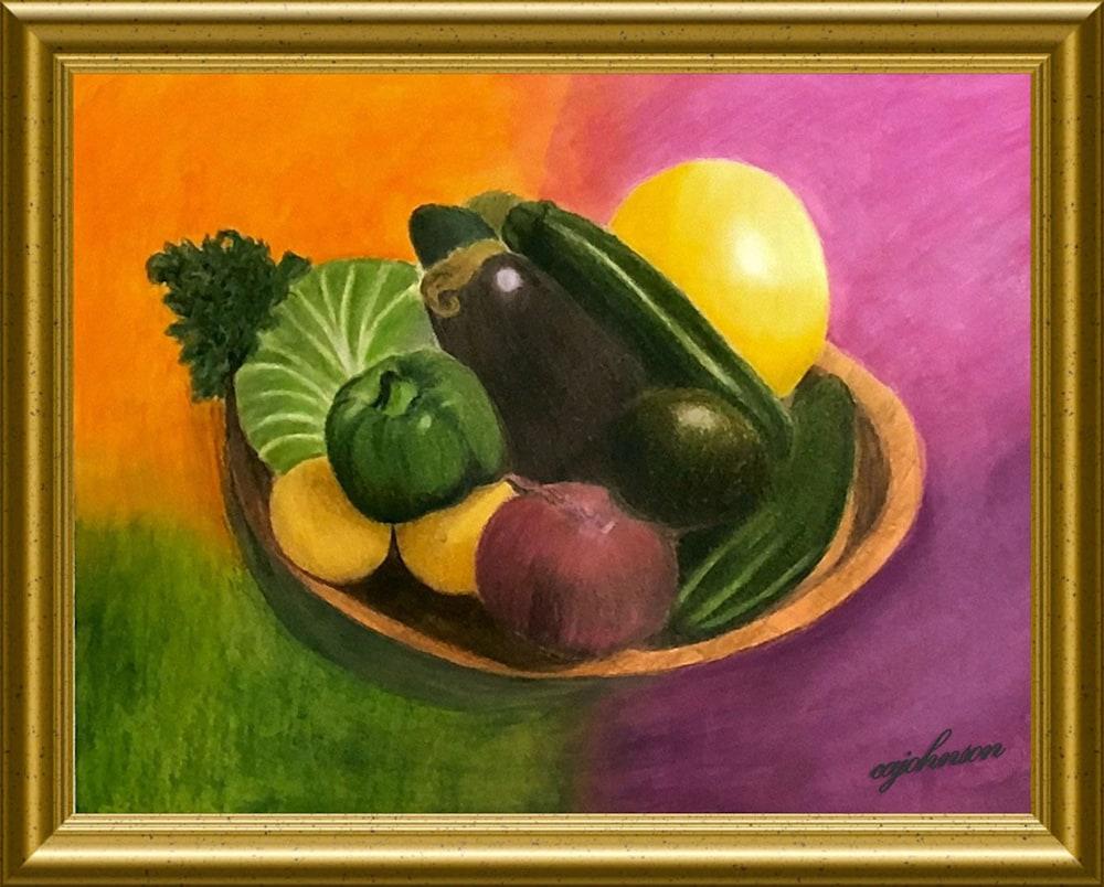 caj vegetables on a tray gold frame copy