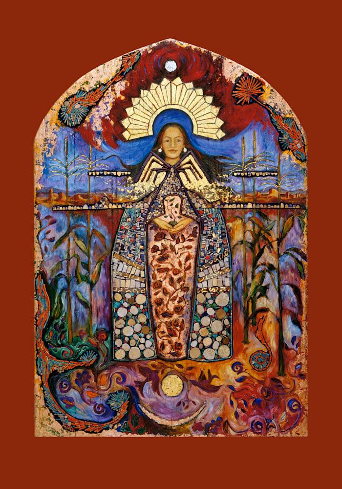 2 La Conquistadora, Dine Spider Woman, Puebloan Corn Maiden   Retablo Series