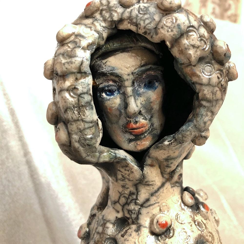 Ceramic Glory Carrier 2 face, raku, 16x5