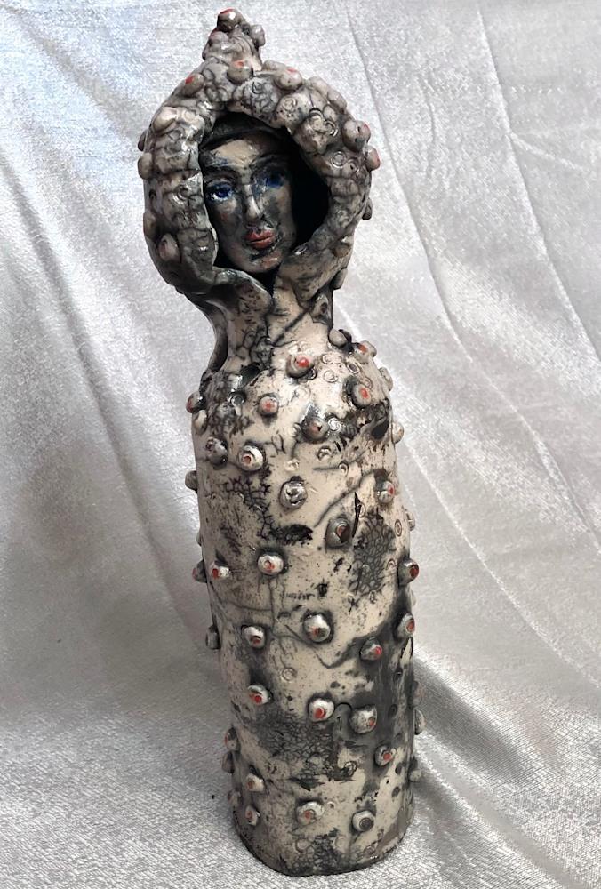 Ceramic Glory Carrier 2 silver , raku, 16x5