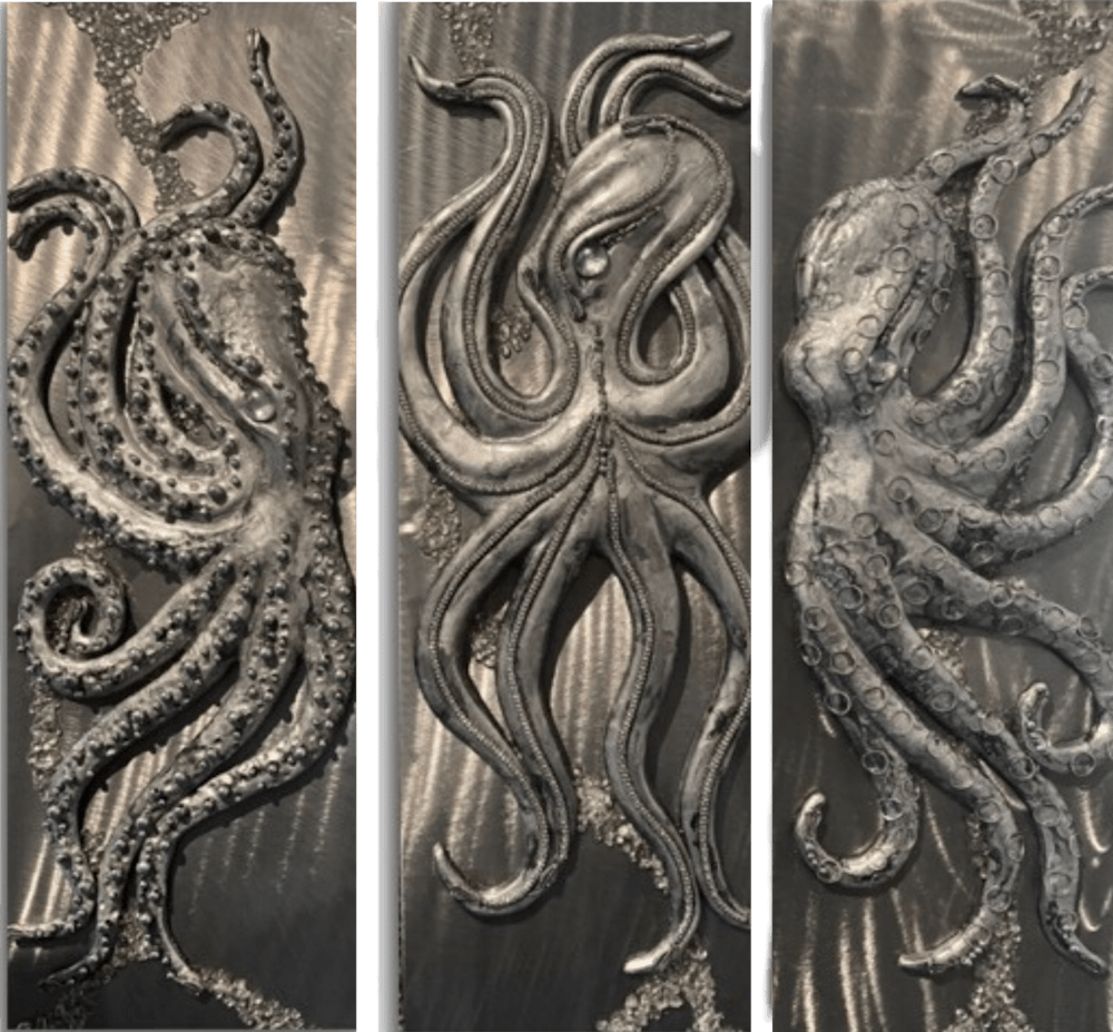 Lisa Herr   Octopus Triptych Original Bas Relief Sculpture Resin Unique 3d metal lahaina front street gallery evo art maui hawaii 2