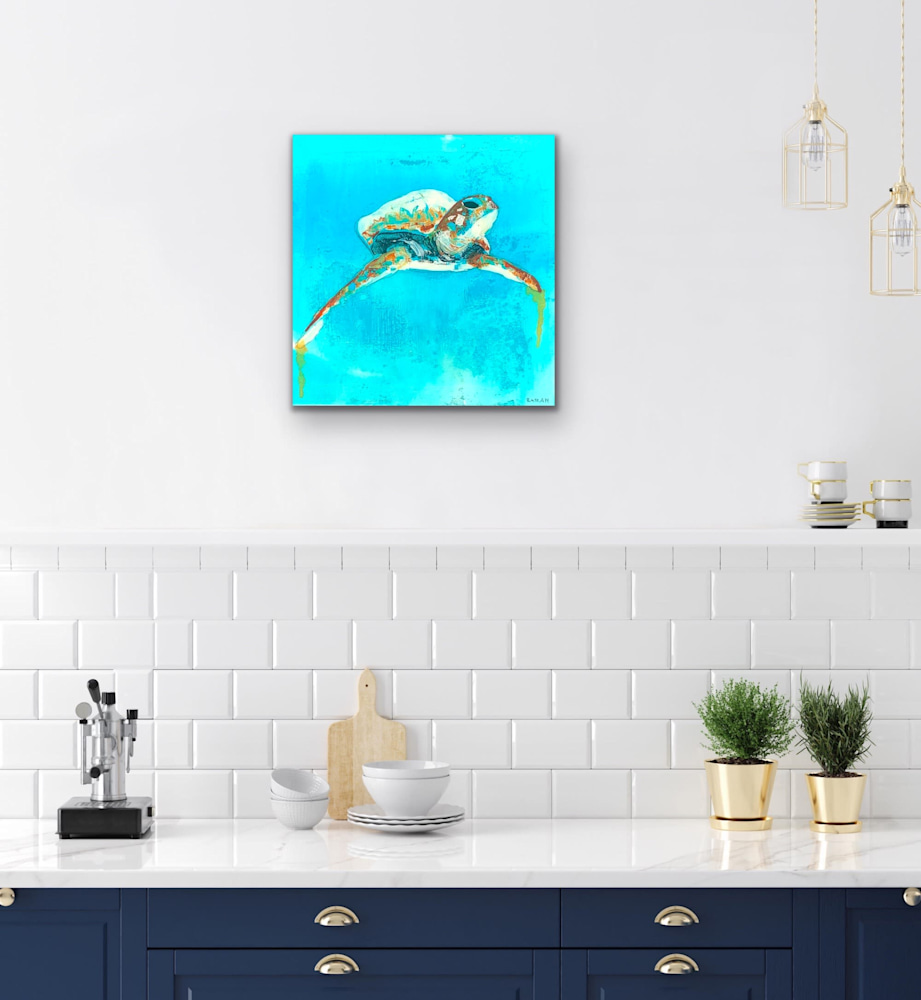 John Baran   Original Paintings Turtles Whales Sealife Animals Swimming Underwater Teal Turquoise tropical paradise hawaii evo art maui front street gallery 9