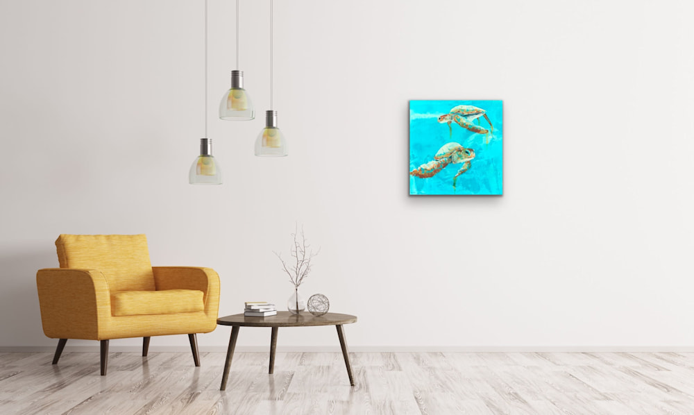 John Baran   Original Paintings Turtles Whales Sealife Animals Swimming Underwater Teal Turquoise tropical paradise hawaii evo art maui front street gallery 1