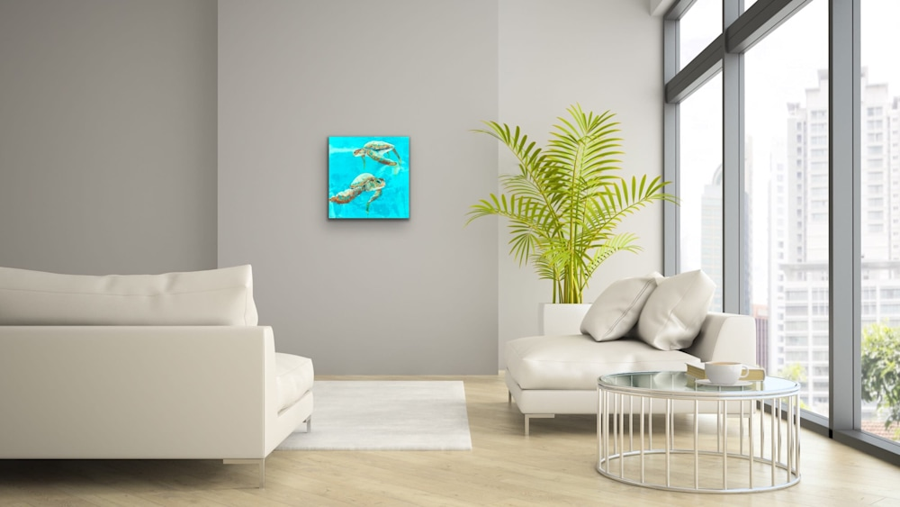 John Baran   Original Paintings Turtles Whales Sealife Animals Swimming Underwater Teal Turquoise tropical paradise hawaii evo art maui front street gallery 2