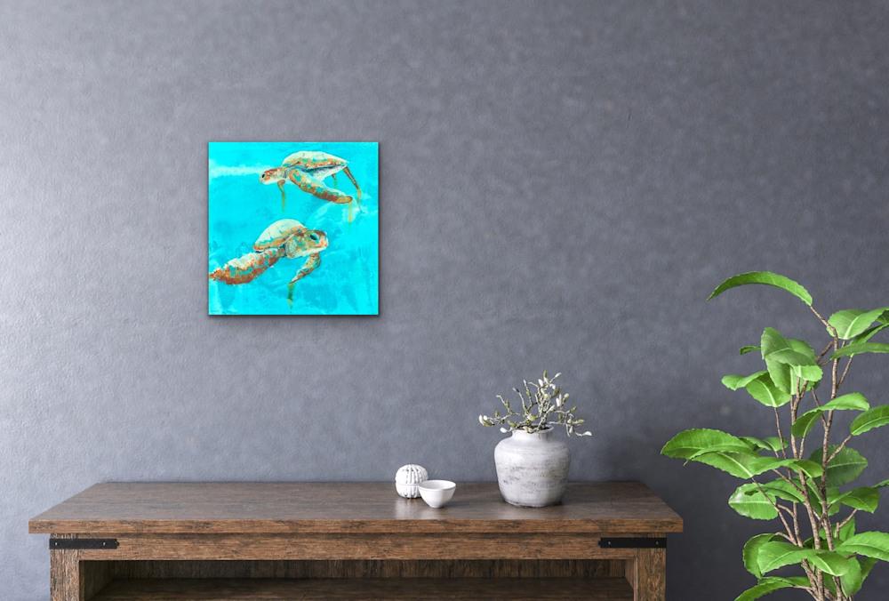 John Baran   Original Paintings Turtles Whales Sealife Animals Swimming Underwater Teal Turquoise tropical paradise hawaii evo art maui front street gallery 3