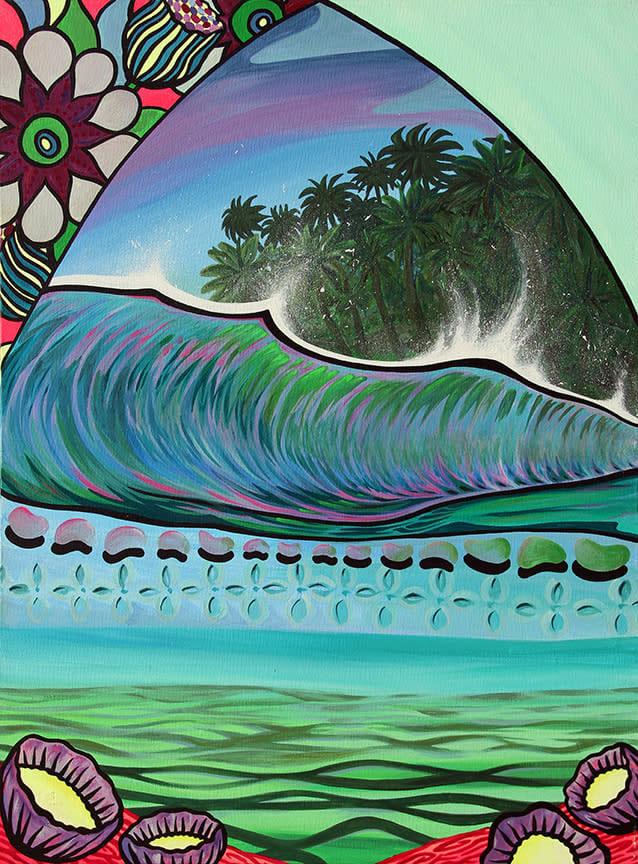 Shannon O'Conell   Brady Wave 18x24   Evo Art Maui Front Street Lahaina Gallery Hawaiian Colorful Tropical Ocean Bright Shapes Island