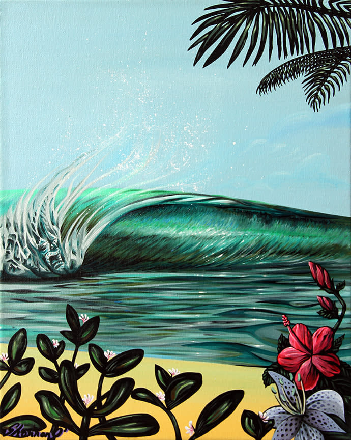Shannon O'Conell   Little Pipe 16x20   Evo Art Maui Front Street Lahaina Gallery Hawaiian Colorful Tropical Ocean Bright Shapes Island