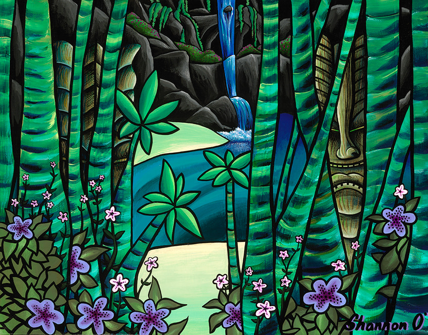 Shannon O'Conell   Guarded Cove 11x14 giclee   Evo Art Maui Front Street Lahaina Gallery Hawaiian Colorful Tropical Ocean Bright Shapes Island