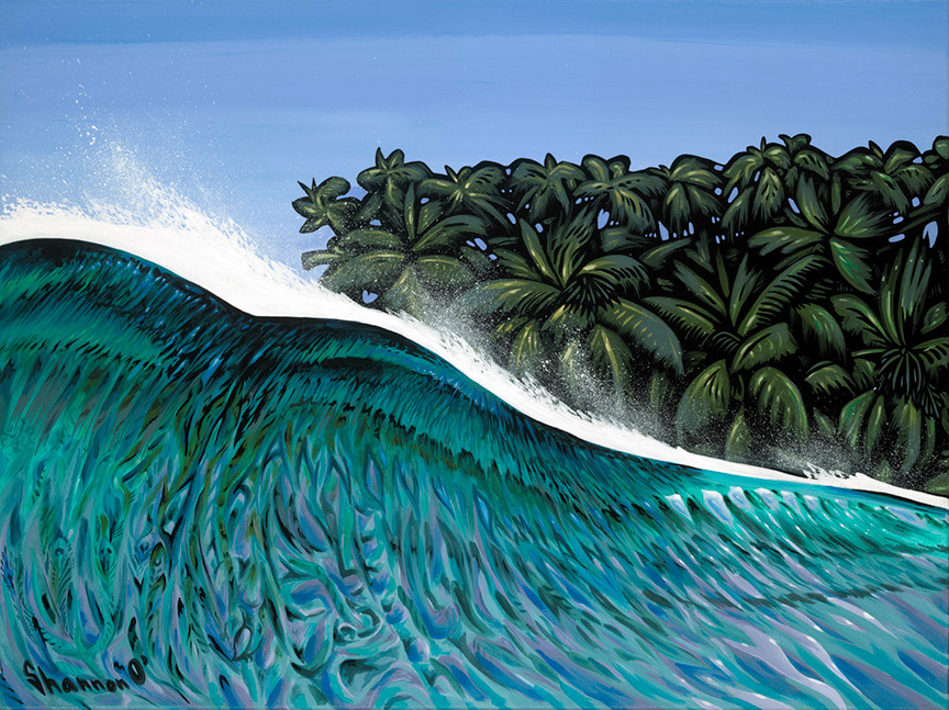 Shannon O'Conell   Duck Dive 18x24   Evo Art Maui Front Street Lahaina Gallery Hawaiian Colorful Tropical Ocean Bright Shapes Island