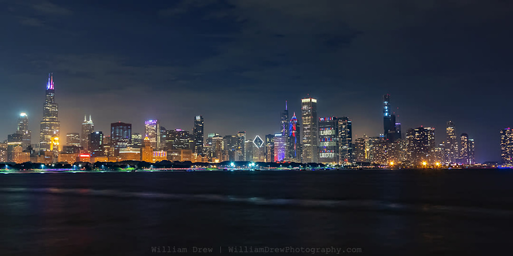 Chicago Skyline at Night on Independence Day sm
