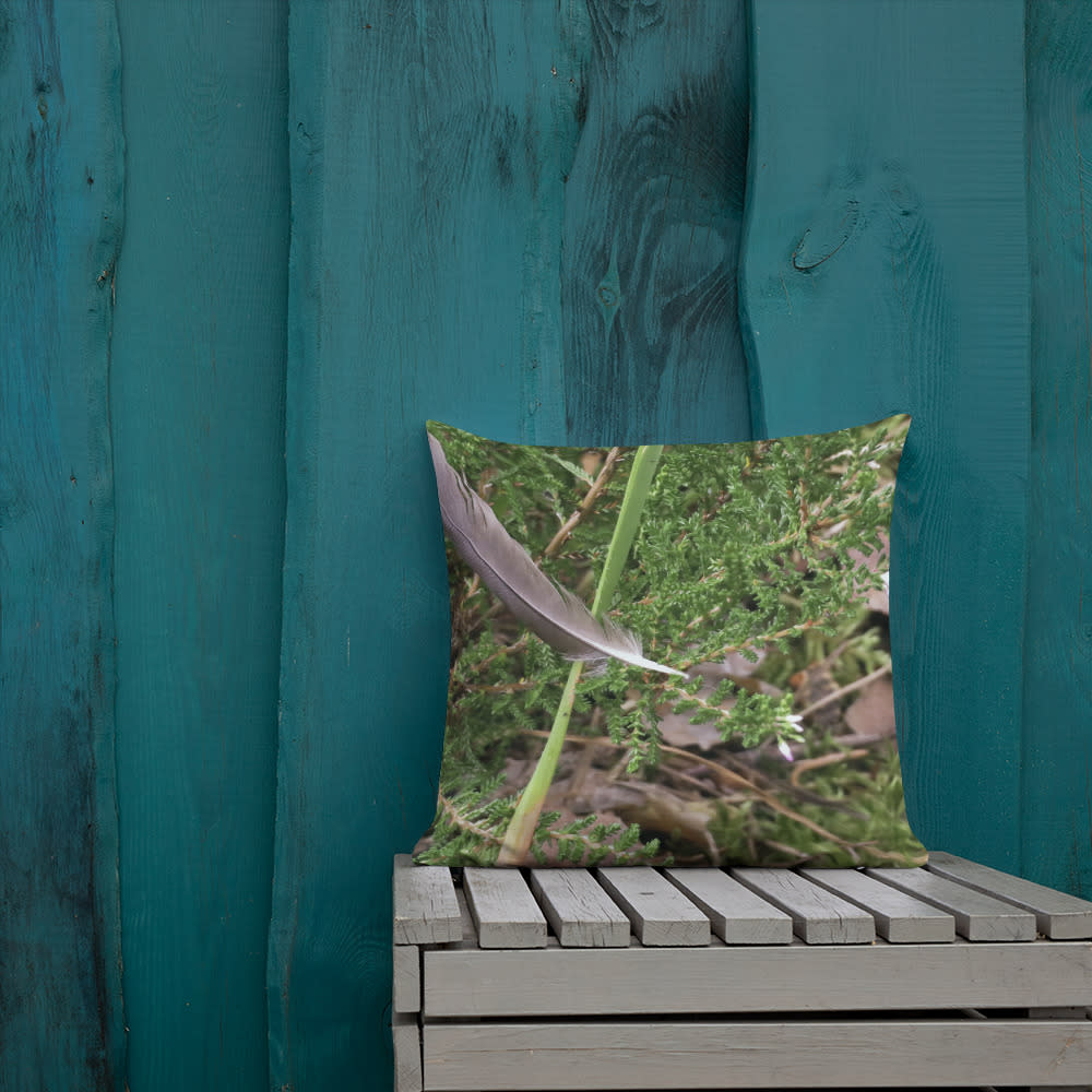 Floating Feather Pillow mockup Front Lifestyle 1 Outdoors Lifestyle 18x18