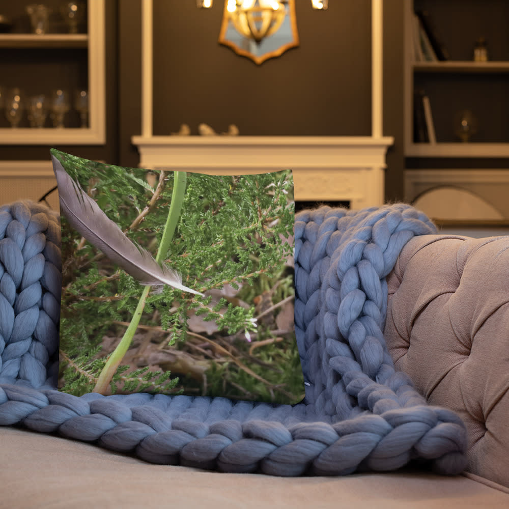 Floating Feather Pillow mockup Front Lifestyle 3 Indoors Lifestyle 18x18